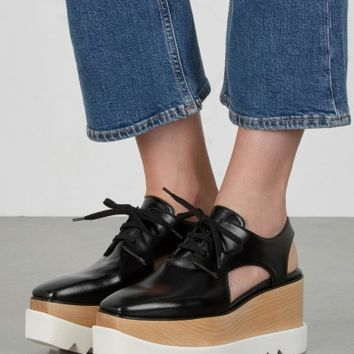 Stella McCartney Elyse black cut-out flatforms