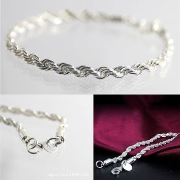 New Women Fashion Shiny 925 Sterling Silver Plated Twisted Rope Chain Bracelet