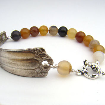 Silverware spoon bracelet with carnelian beads, red orange white 8 inches