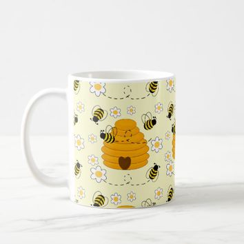 Honey Bumblebee Hive Yellow Daisy Floral Flower Coffee Mug