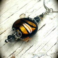 Amber Glass Beaded Pendant Sterling Silver Necklace Foil Lined Glass Firepolished Glass Beaded Pendant Snake Chain Grey Brown Filigree