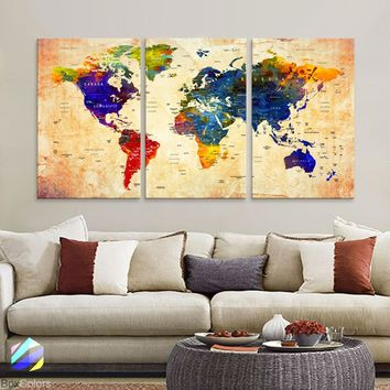 "LARGE 30""x 60"" 3panels 30x20 Ea Art Canvas Print Watercolor Orange Map World Push Pin Travel M1815"