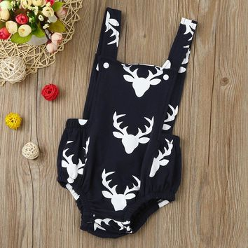 2017 Christmas Newborn Baby Girl Clothes Cute Backless Deer Cotton Baby Girl Romper Jumpsuit Baby Christmas Costume Baby Romper