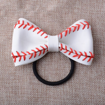 Baseball Leather Hair Jewelry Bow Tie Woven Leather Pony Holder