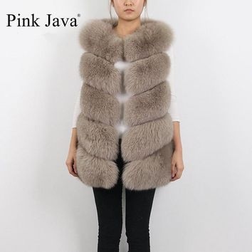 pink java QC8006   FREE SHIPPING high quality real fox fur vest women winter gilet real photos hot sale thick fur coat