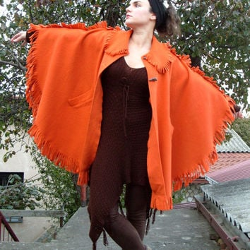 PROMO PRICE!!! Winter Poncho, Wool Cape, Outerwear, Wool Cloak, LARP, Cosplay, Indian Poncho, Winter Coat