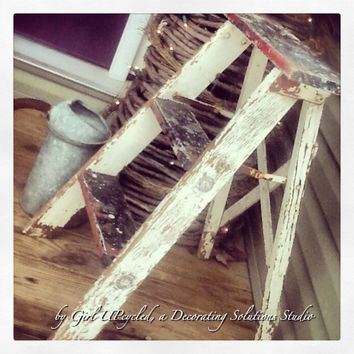Shabby Chic Country Farmhouse Boho style vintage decor step ladder