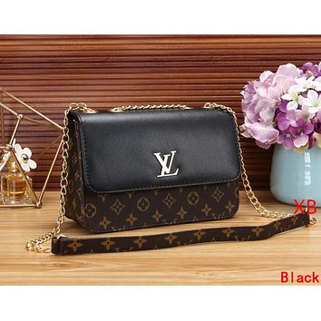 LV Louis Vuitton Women Leather Metal Chain Shoulder Bag Crossbody Satchel Black