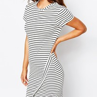 New Look Stripe Wrap Bodycon Dress