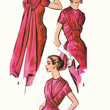 1950s vintage sewing pattern evening cocktail sheath dress 4 way style Grecian draping kimono sleeve bust 34 b34 McCall's 3865