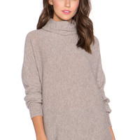 Autumn Cashmere Dolman Scrunch Neck Sweater in Putty