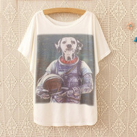 Weird Dog,Printed Women's Unique Fashion White Batwing Short Sleeves T-shirt = 1945651524