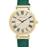 Anne Klein Women's Green Leather Strap Watch 38mm AK/2136CRGN