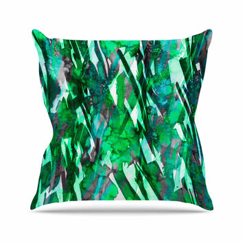 "Ebi Emporium ""Frosty Bouquet 7"" Green Abstract Outdoor Throw Pillow"