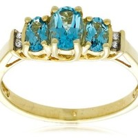10k Yellow Gold Birthstone Three-Stone Diamond-Accented Ring