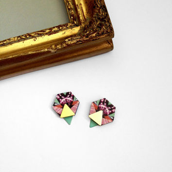 Geometric Earrings Hexagon & Triangle Earrings - Hexagon Earrings Hexagon Jewellery Geometric Earrings Laser Cut Multi Pattern