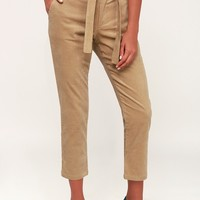 Mitchell Tan Corduroy Belted Trouser Pants