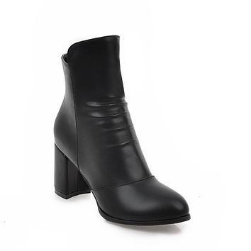 Pu Leather Thick Heeled Ankle Boots for Women 9348