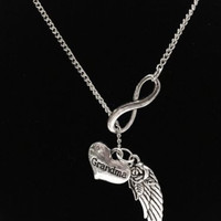 Infinity Guardian Angel Wing Grandma Grandmother Memory Heaven Lariat Necklace