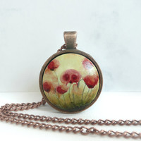 Wild Poppies Necklace, Vintage Inspired, Antique Copper Pendant Trays, Chain, Red Flower Jewelry