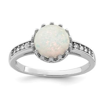 Sterling Silver CZ and Round Created Opal Crown Set Ring