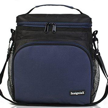 "Insulated Lunch Bag S1:  Stylish Lunch Box For Office Men Women Teen Boys Girls With Adjustable Strap Handle Front and Side Pocket H: 10"" x W: 5.1"" x L: 9.2"" (Large, Navy Blue)"