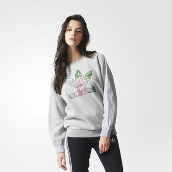 adidas Training Floral Logo Sweatshirt - Grey | adidas US