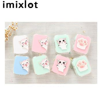 Imixlot New Cartoon Cute Cat Candy Color Travel Glasses Contact Lenses Box Contact lens Case for Eyes Care Kit Holder Container