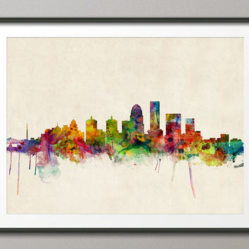 Louisville Kentucky Skyline, Art Print (501)