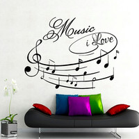 Wall Decals Music i Love Decal Vinyl Sticker Treble Clef Notes Decal School Studio Home Decor Bedroom Dorm Living Room Art Murals MN421