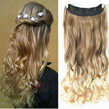 3/4 Full Head One Piece Clip in Hair Extension Light Brown/Sandy Blonde Ombre