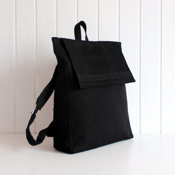 Backpack bag in Black / Unisex / Men / Laptop Bag / Diaper Bag / Travel Trip Bag / Weekender Bag / Large / Globe