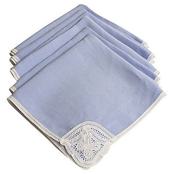Vintage Blue Chambray Linen Napkin set of 6