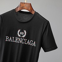 Balenciaga Embroidered Wheat Ears Logo Crew Neck Half Sleeve T-Shirt