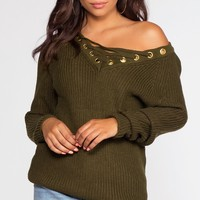Elsa Lace Up Sweater - Olive