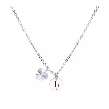 Dainty Initial Necklace made with Crystals from Swarovski  - B