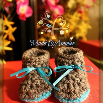 Gray and Teal/Aqua  Baby Girl Crochet Flower Hat and Booties, Preemie/Newborn Crochet Flower Hat and booties