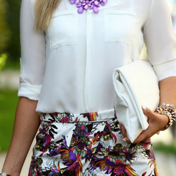 V neck Chiffon Blouse - White