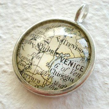 World Traveler Map Necklace or Pendant  by TheGreenDaisyShop