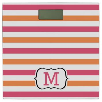 Pink And Orange Striped Pattern Monogrammed Bathroom Scale