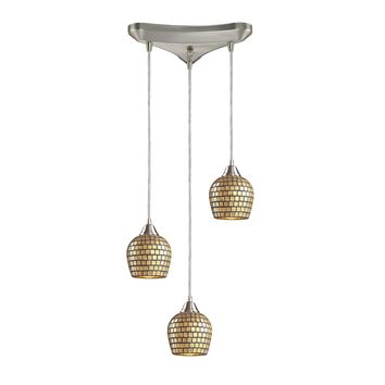 528-3GLD Fusion 3 Light Pendant In Satin Nickel And Gold Leaf Glass