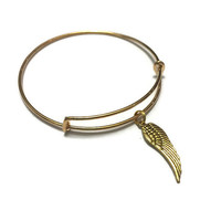 Wing Charm Bracelet - Wing Charm Bangle - Angel Wing Bangle - Angel Wing Bracelet - Gold Adjustable Wing Charm Bangle Bracelet - Angel Wing