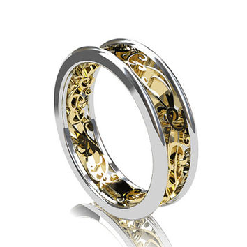 two tone filigree wedding band white from