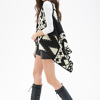 FOREVER 21 Geo Striped Knit Vest Black/Cream