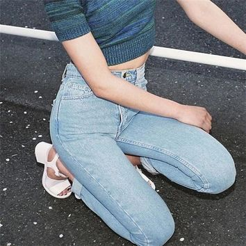 Classic Vintage Mom Style Lady Slim Pencil Pants Women Retro High Waist Jeans Harem Pants  full length Denim pants cowboy Pants