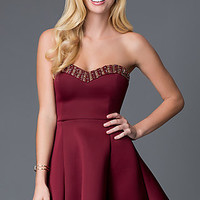 Short A-Line Strapless Sweetheart Homecoming Dress CL-43713