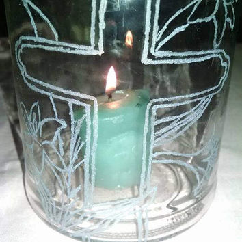 Reclaimed Upcycled Glass Jar with Etched Easter Cross and Lily Flowers Candle Holder Candy Flowers Spring Holidays Faith Gift Idea