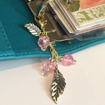 Feathers and Pink Beads Planner Charm