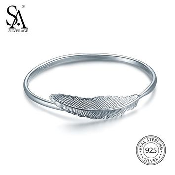 SA SILVERAGE Bangle 2017 Women Bohemia Feather Bracelets&Bangles Wedding Real 925 Sterling Silver Bangles for Women Fine Jewelry