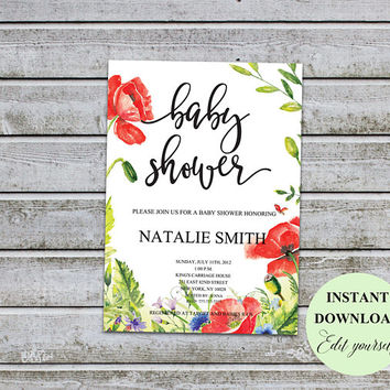 Printable Boho Floral Baby Shower Invitations Boys Girl Gender Neutral Baby Shower Invitation Invites (v33) Instant Download Editable Files